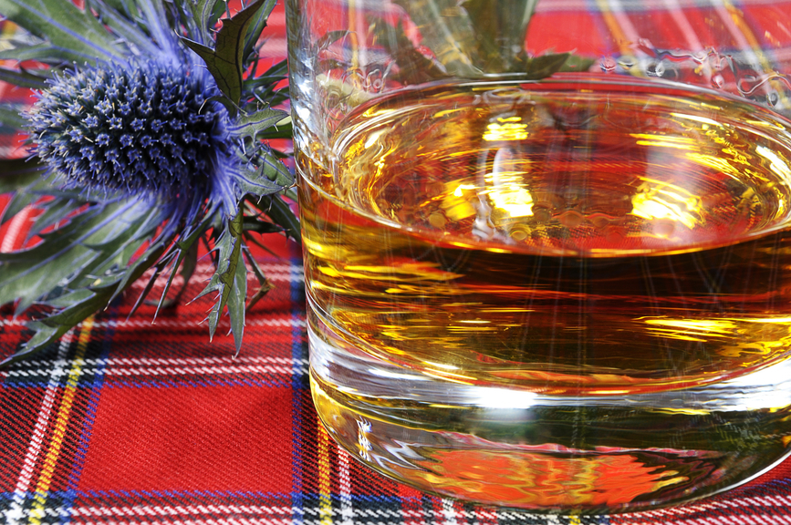 Scotch whiskey and thistle on a red tartan background.